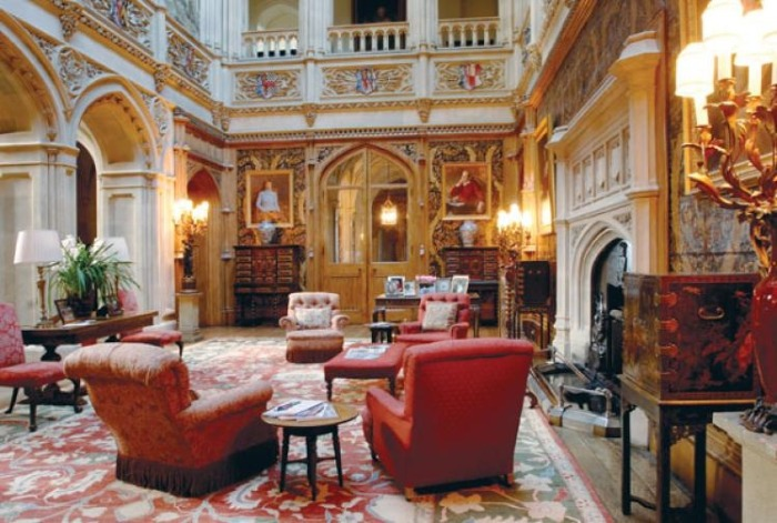 castle interior Highclere stately home red interior