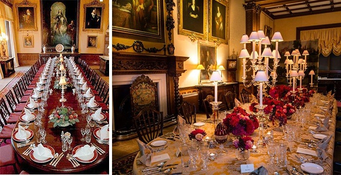 Highclere castle dining hall classic style in red