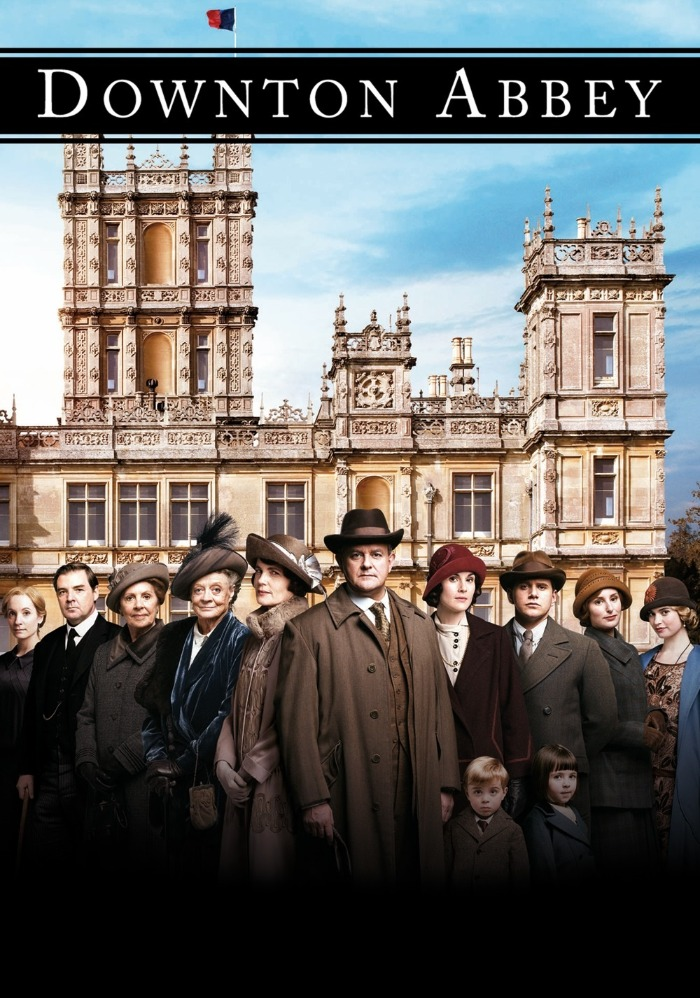 downton abbey poster in front of the castle cast hit series