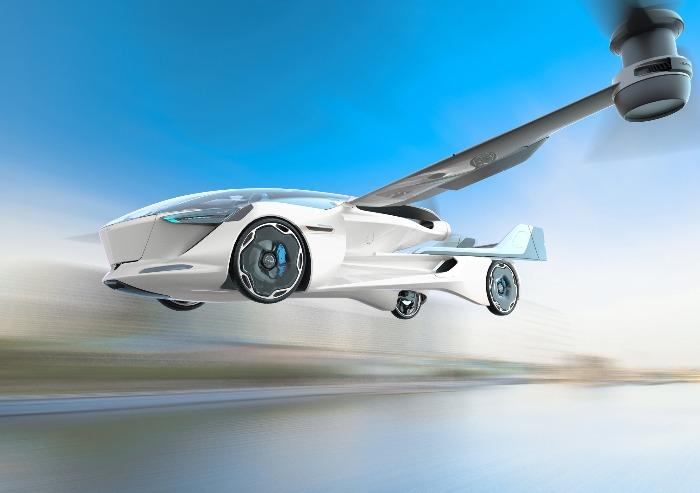 futuristic innovative flying car in the sky in flight