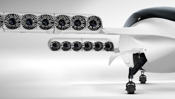 lilium jet project flying car close up on a white background