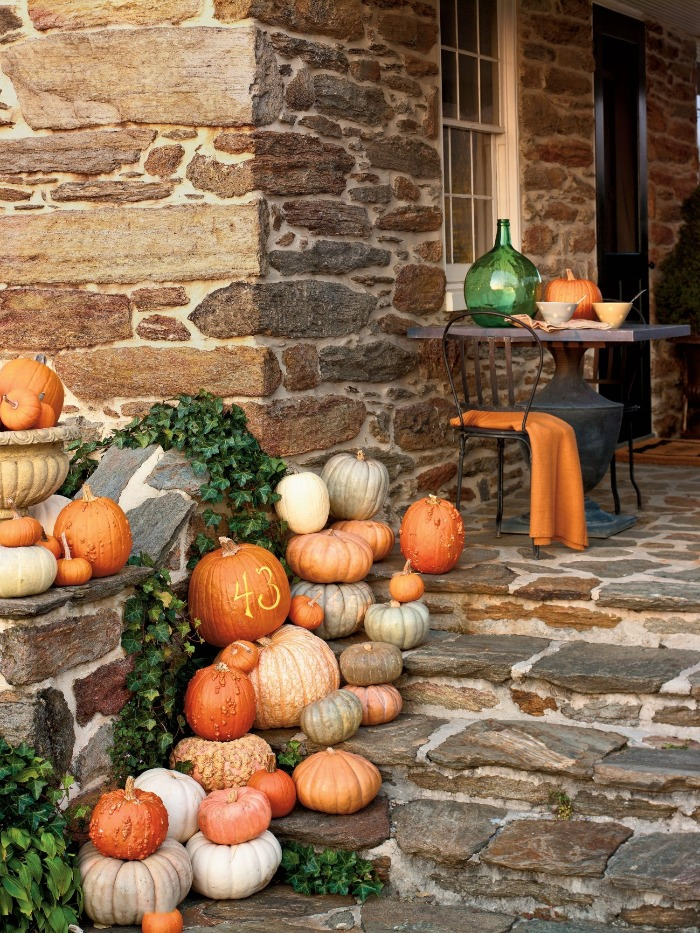 outdoor stone porch pumpkins decoration idea