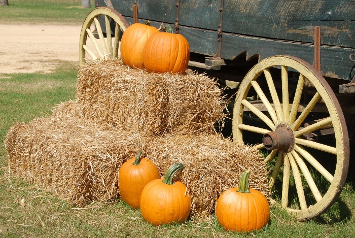 outdoor fall decor hay stacks and pumpkins