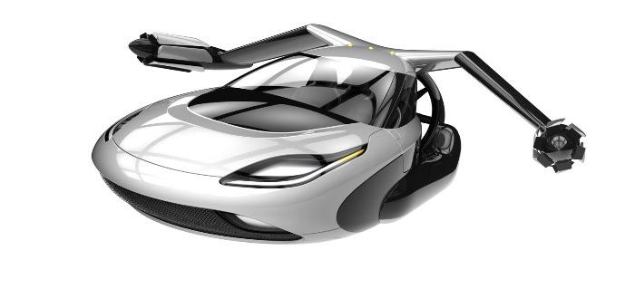 terrafugia flying car model on a white background