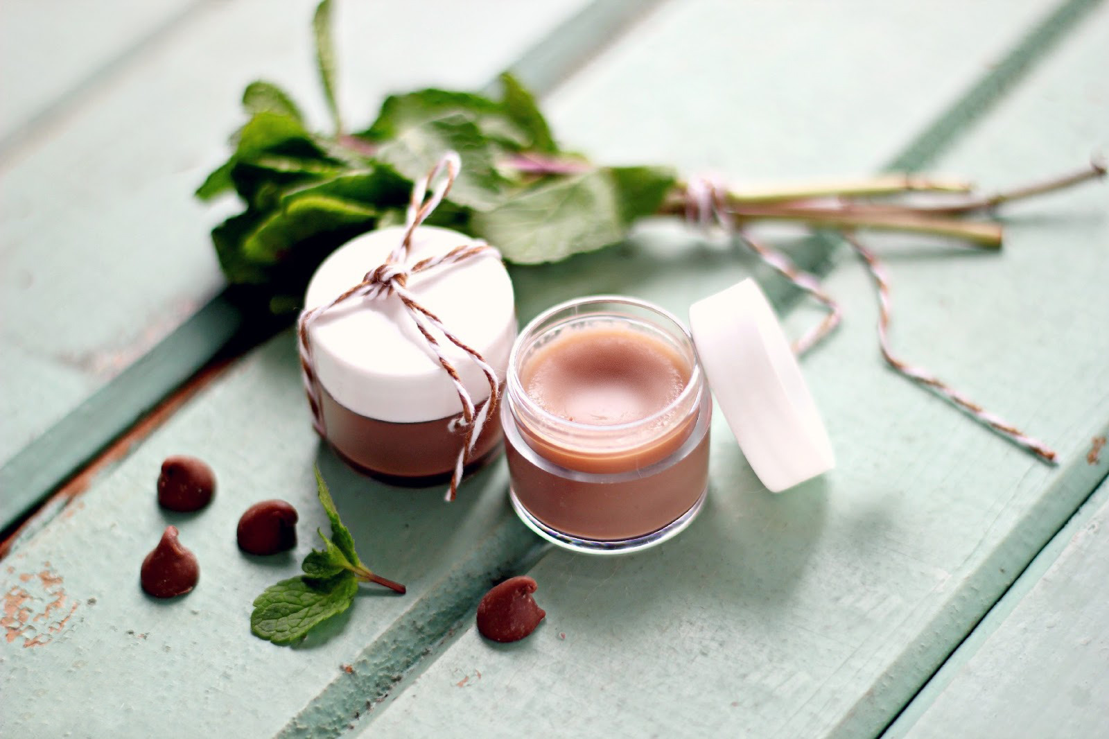 natural cosmetics two pink lip balms in small jars on a white table with some greens