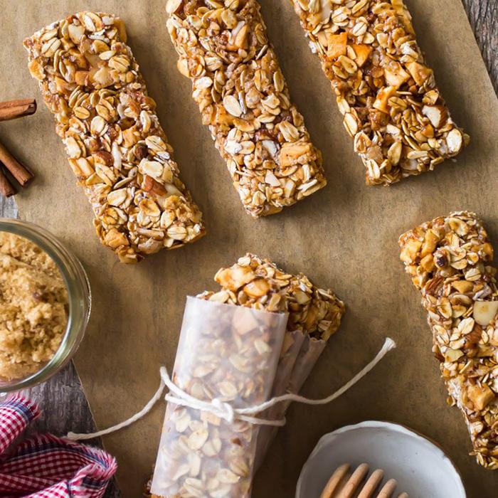 fall food idea granola bars on a baking paper