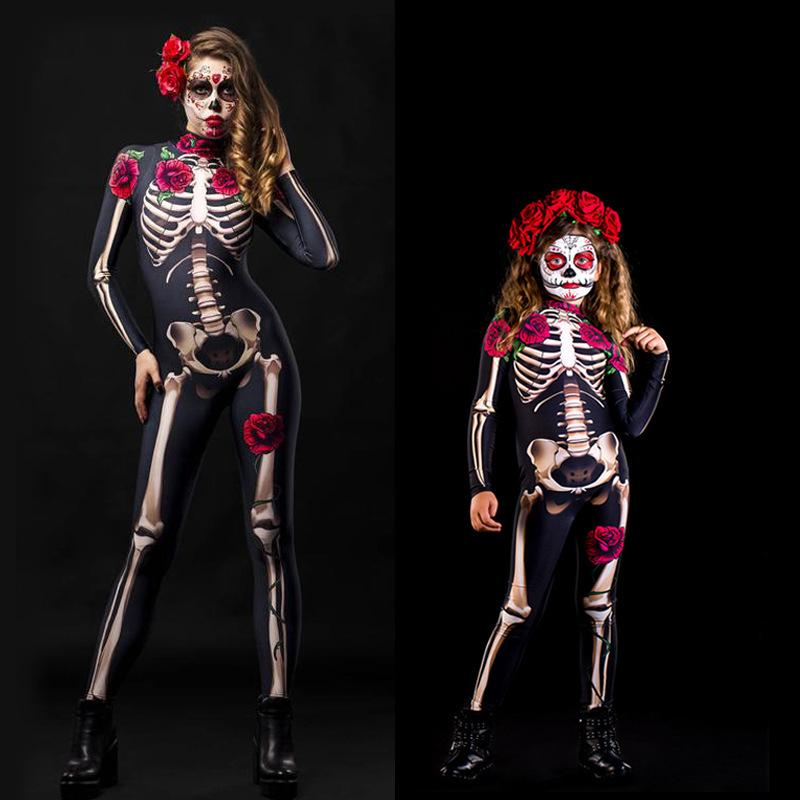 Halloween ideas skeleton costume woman and girl in skeleton costumes with roses