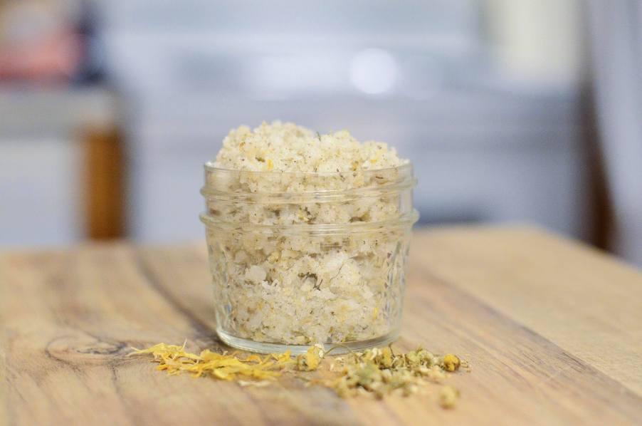 natural cosmetics and scrub with calendula and chamomile