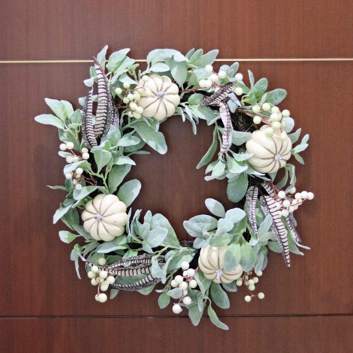 DIY Fall Wreaths Natural grapevine white pumpkin wreath on a brown door