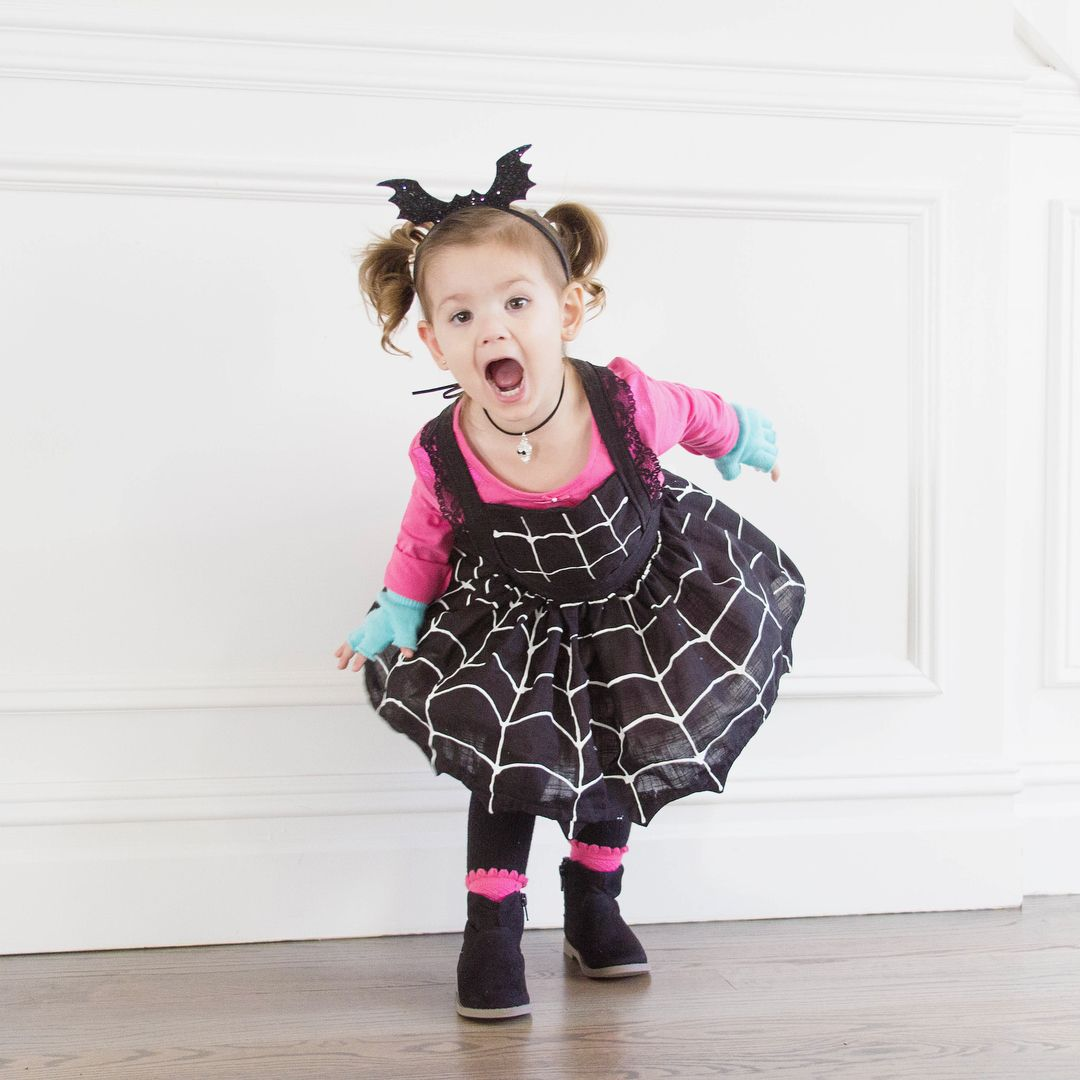 Little girl vampirina costume with spider web dress pink shirt and black shoes