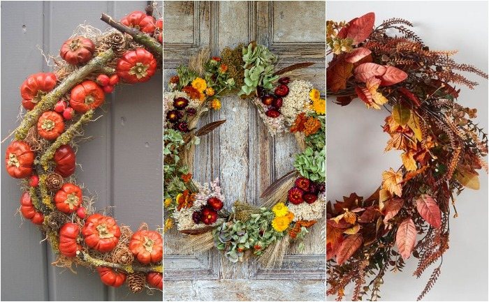 three different fall wreaths on doors pumpkin foliage dried flowers