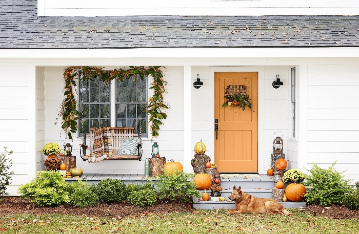 DIY Fall Wreaths and fall decoration on a yard with a dog