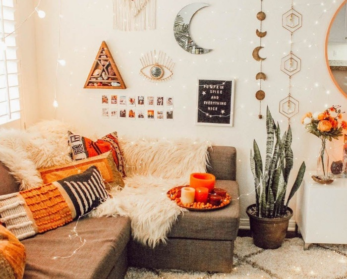 DIY Fall Wreaths and indoor decor white room with orange accents