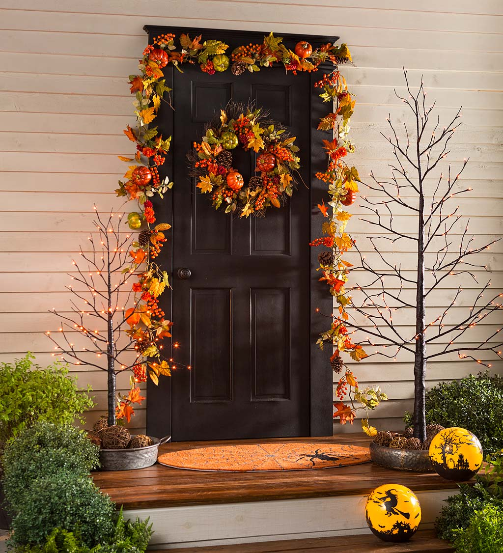 Gorgeous gall and halloween door decor garland and wreath foliage and fall fruits and veggies