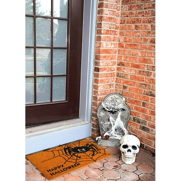 halloween decoration ideas spiderweb doormat little grave and a skull