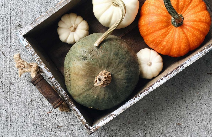 DIY Thanksgiving centerpiece rustic tray with pumpkins in different color