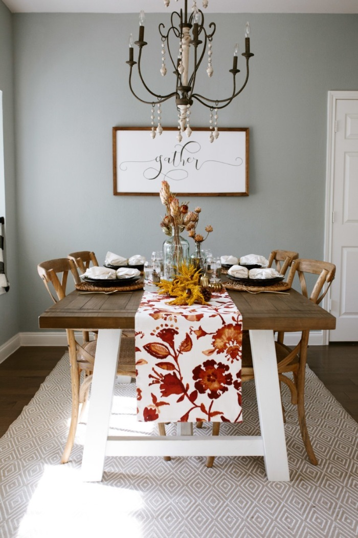 Simple and elegant thanksgiving table decor with a colorful table runner