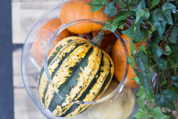 glass bowl with gourds fall decoration centerpiece