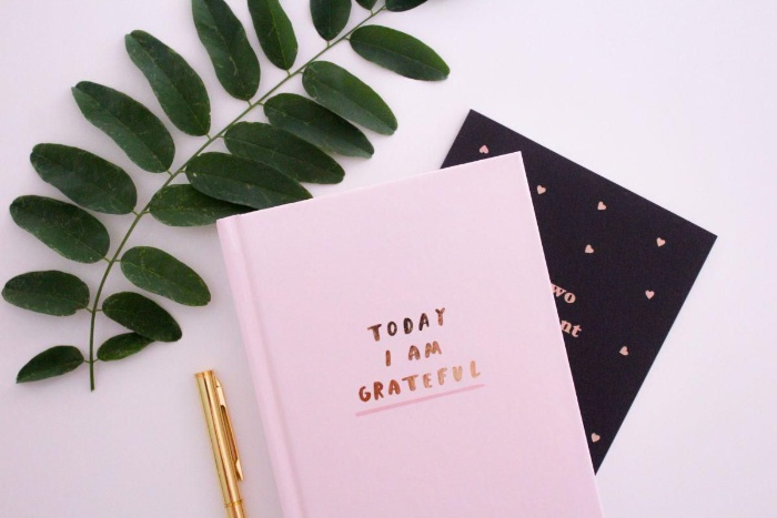 two gratitude journals on a white table with a green leaf and golden pen