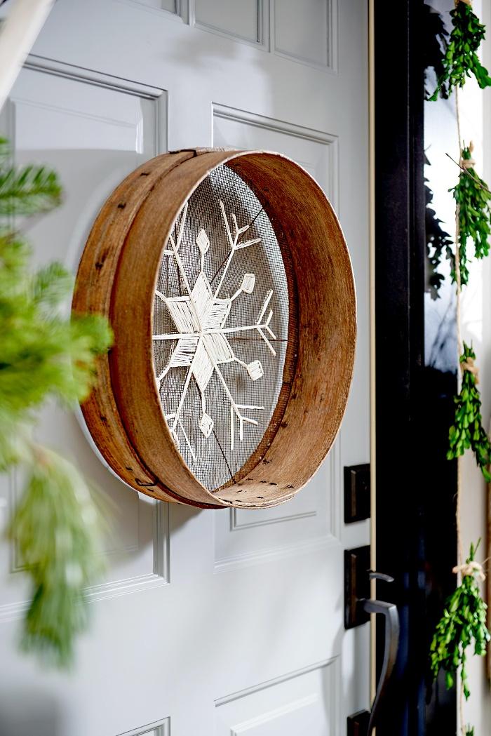 DIY door decoration snowflake on the door