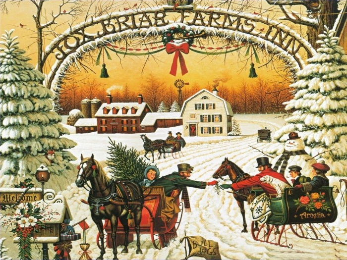christmas day vintage christmas card with snowy landscape and families exchanging gifts