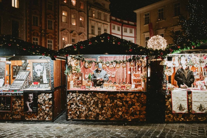 christmas market with decorated pavillions outdoor square