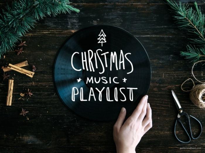 christmas music woman holding a black christmas playslist box