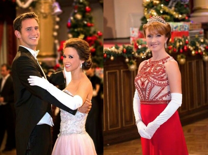christmas romance romantic christmas movie a couple dancing and a princess with tiara and a red dress