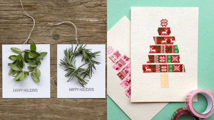 handmade cards for christmas close up with green herbs and christmas trees