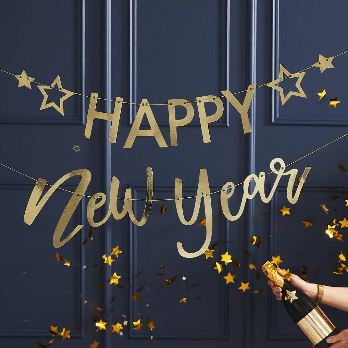 happy new year banner home decor on a dark blue background