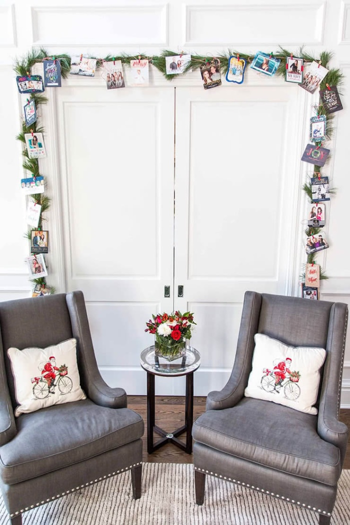 interior decorations christmas garland with cards around coset doors