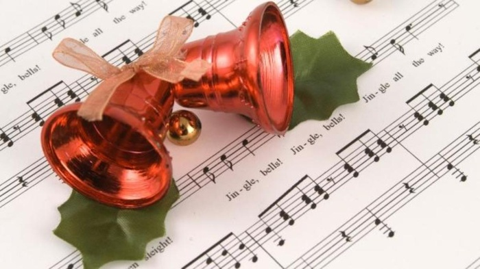jingle bells red christmas bells on musical notes