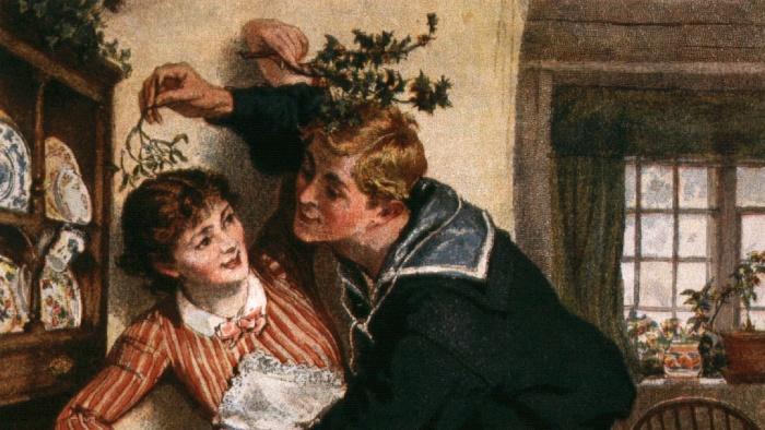 mistletoe stories paintining of a couple kissing under the mistletoe