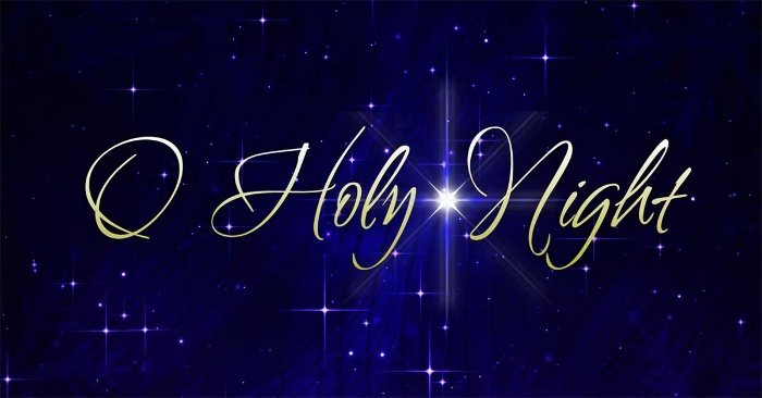 o holy night golden letters on a dark blue sky background