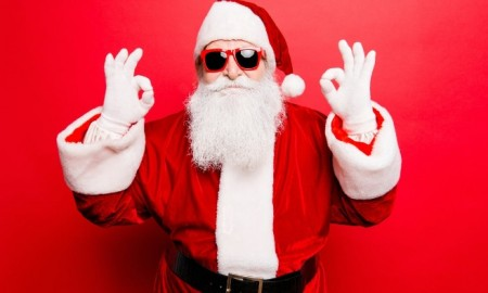 santa with sunglasses