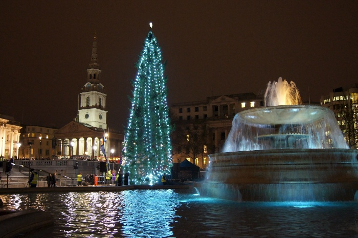 traffalgar square christmas tree and fountain in the evening