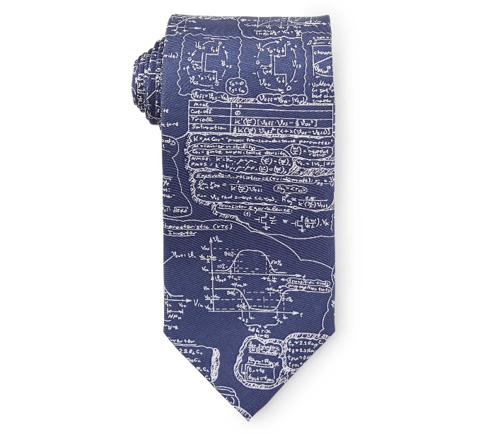blue tie with math formulas on it in a roll