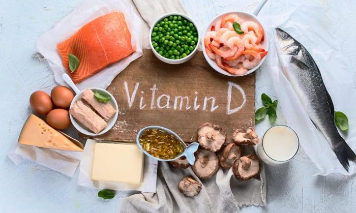 various foods rich in vitamin D mushrooms peas shrimps cheese eggs