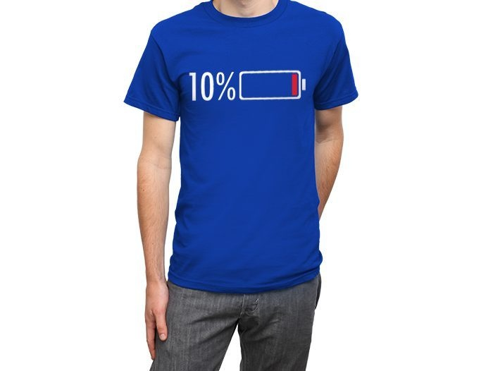geeky gifts person wearing a blue t-shirt with a battery