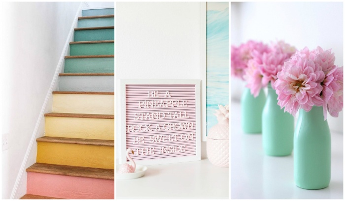 interior decor in pastel colors three pictures with different color palettes