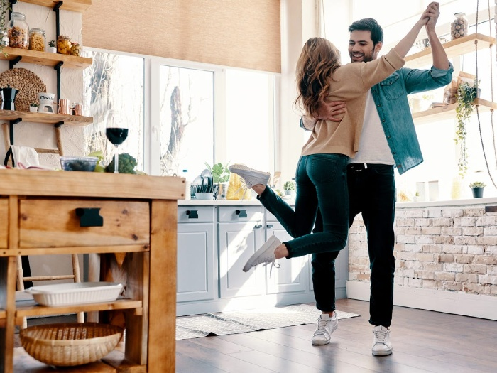 dancing together romantic day at home couple dancing in the kitchen