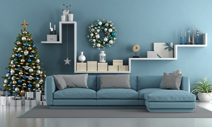 blue living room interior with christmas decor
