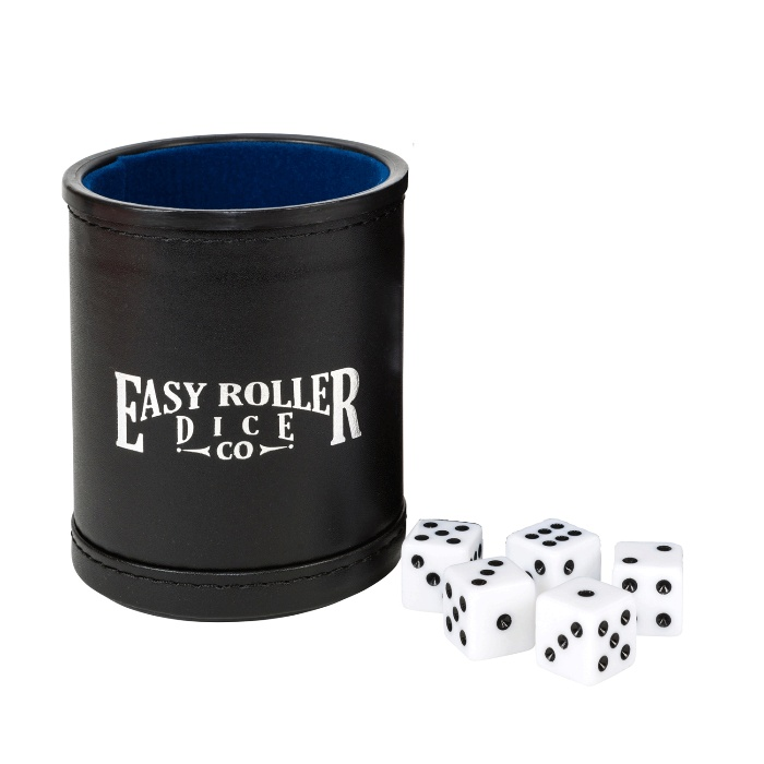 dice and a cup on a white background