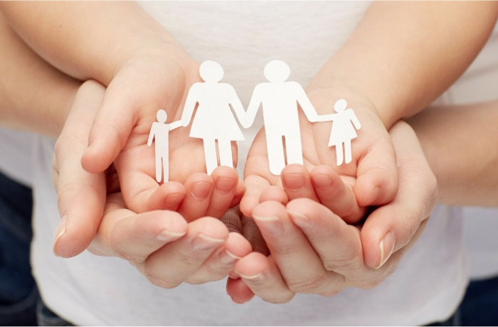 family entity partnership woman and child hands holding silhouette of paper cut family