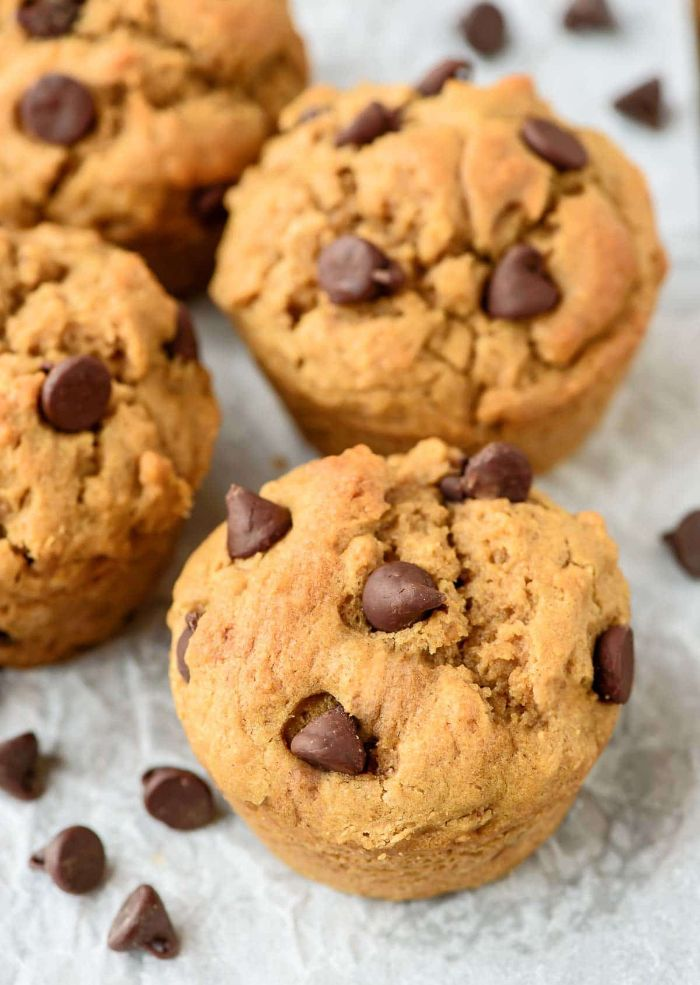 peanut butter muffins with chocolate chip on top