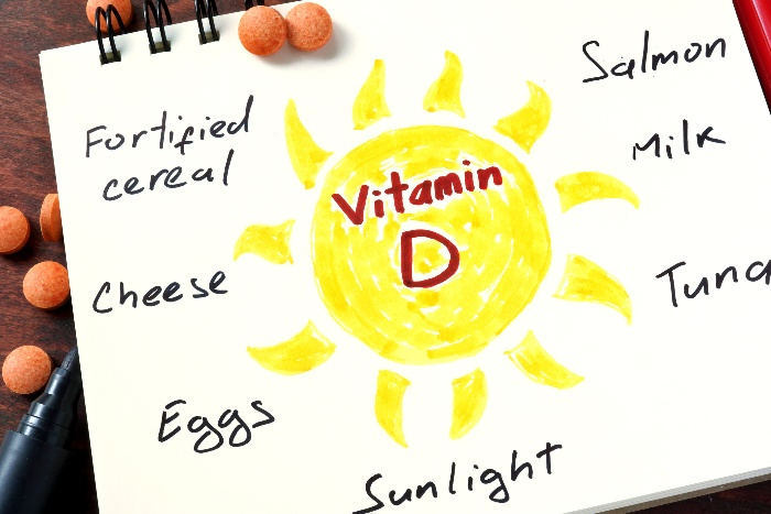 sources of vitamin D drawn on a white paper with a sun in the center