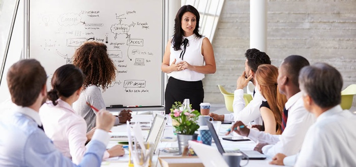 women in business woman in white shirt and black skirt presenting in front of business people