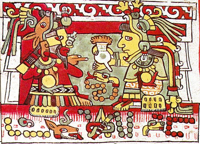 Colorful aztec painting aztecs drinking chocolate aphrodisiac beverage