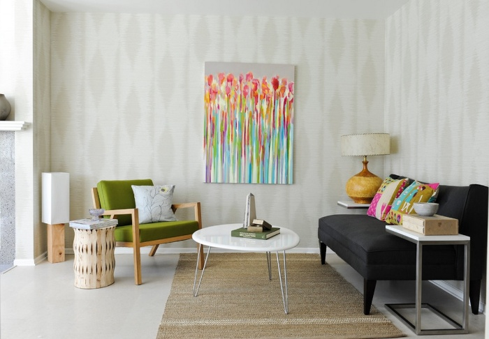 cozy living room in romantic retro interior large painting and different furniture pieces