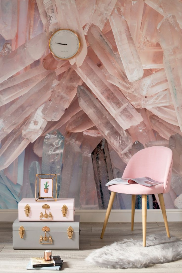 crystal inspired decor pink crystals elegant pink chair wall clock and suitcases